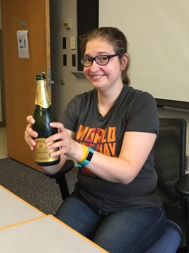 Megan pops cork for Matt's eLife paper